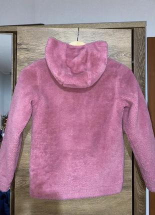 Розовая еко-шуба, шуба pepperts для девочки на 9-10лет рост 140см в идеальном состоянии