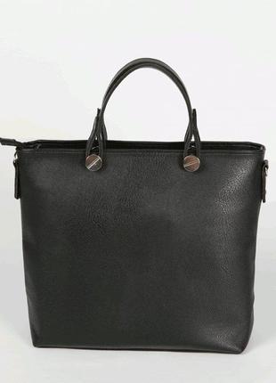 Черная деловая сумка матовая с ремешком через плечо