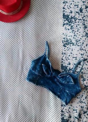 Sale топ джинсовый с бантиком из хлопка select