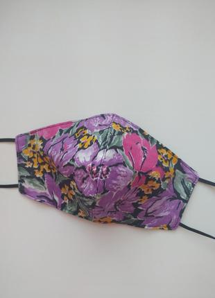 Фиолетовая маска тюльпаны двухсторонняя