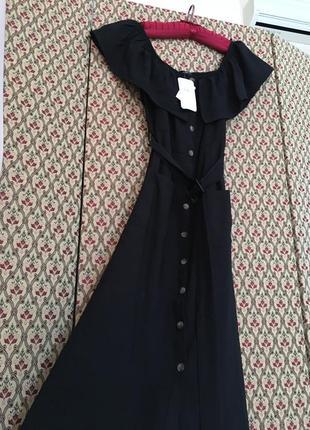 Платье рюша на пуговицах лён лен льняное вискоза миди с воланом батал сарафан открытые плечи