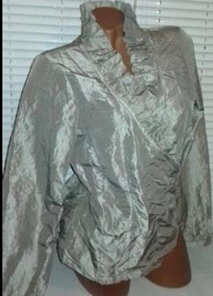 Блуза металлик серебристая  жакет блузка кофта пиджак