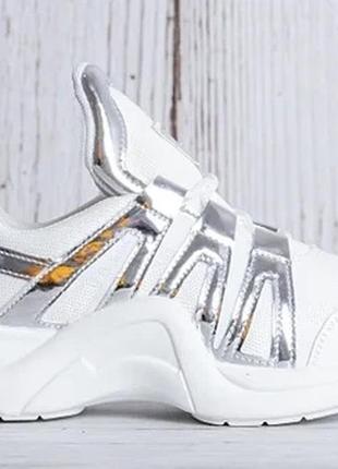 Женские кроссовки белые в стиле balenciaga высокие с серебром 36-41