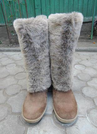 Теплые кожаные зимние сапоги унты р.38-39 (25 см)