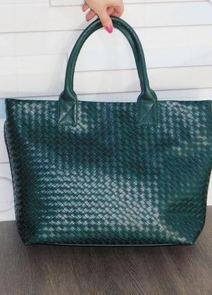 Сумка шопер зелена жіноча