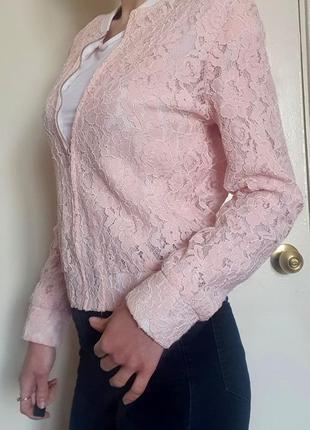Стильный розовый ажурный бомбер, кутровка, курточка oodji