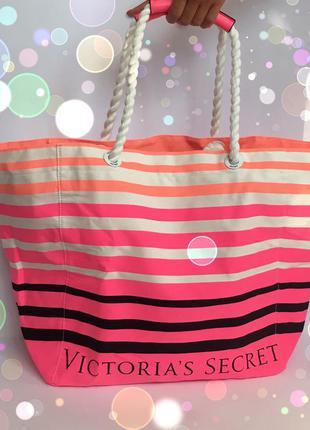 Victoria's secret оригинал сумка пляжная белая цветная