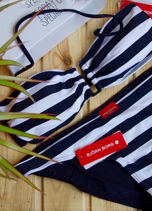 Полосатый черно-белый купальник бренд bjorn borg