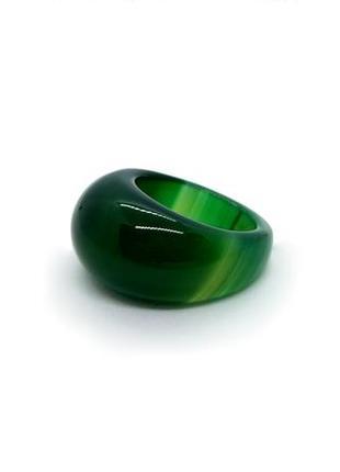 🍀💚 кольцо перстень р.19 цельный натуральный камень темно-зеленый агат