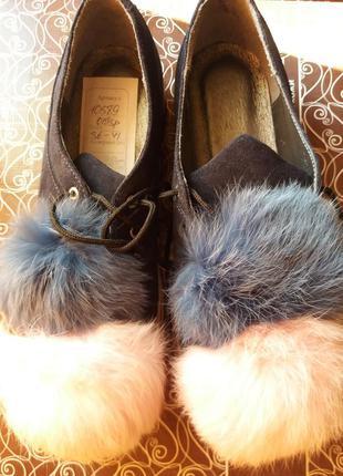 Туфли слипоны натуральный замш