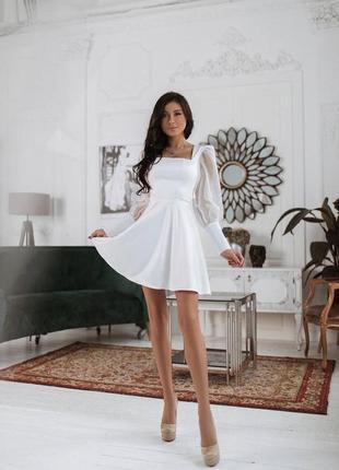 Платье шелковое, с обьемными рукавами, идеально для росписи