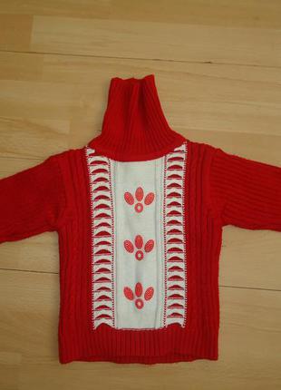 Удобный и очень теплый свитер гольф на зиму р.92-98