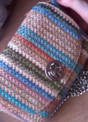 Милая плетеная сумочка-клатч с цепочкой  kari