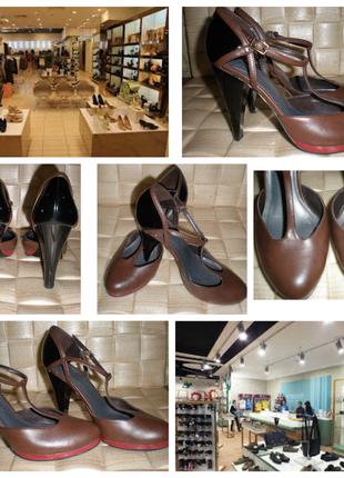 Ретро - стиль - стильные босоножки на каблуке кожа+ лак. размер 5/37