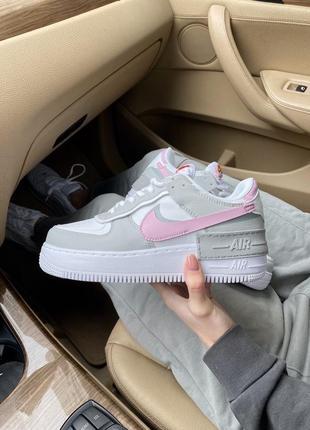 Женские стильные весенние кроссовки nike air force shadow pink/grey3 фото
