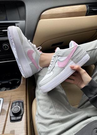 Женские стильные весенние кроссовки nike air force shadow pink/grey