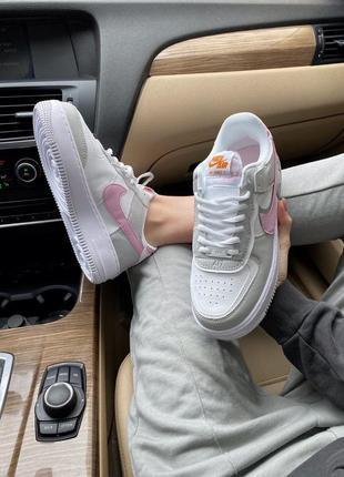 Женские стильные весенние кроссовки nike air force shadow pink/grey2 фото