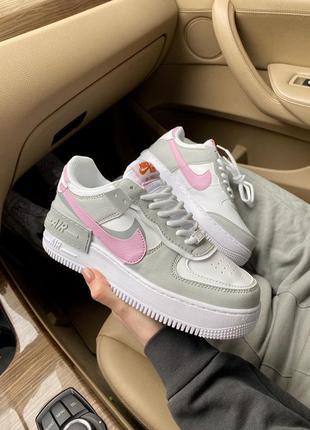 Женские стильные весенние кроссовки nike air force shadow pink/grey7 фото