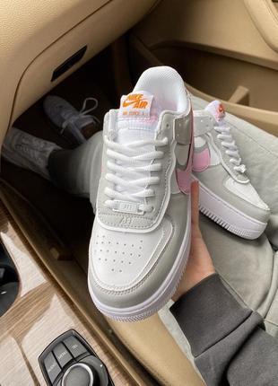 Женские стильные весенние кроссовки nike air force shadow pink/grey6 фото