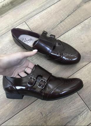 Шикарные ботинки туфли оксфорды броги монки 40 размер