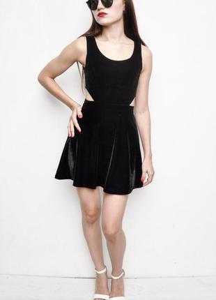 Платье чёрное бархатное