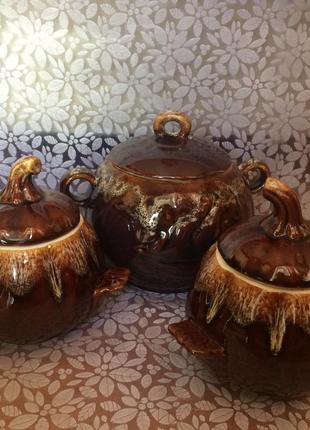 Горшочек керамический для запекания в духовке, набор из 3х штук