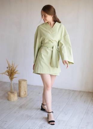 Кімоно з поясом  міді /  платье кимоно с пояском длиной миди /оливковый