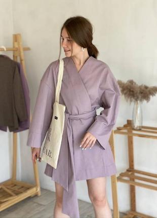 Кімоно з поясом  міді /  платье кимоно с пояском длиной миди / пудра / one size