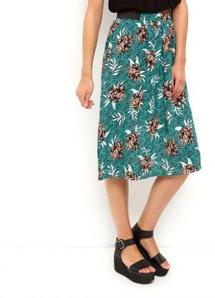 Стильная миди юбка в цветы тропический принт
