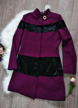 Модное женское деловое демисезонное весеннее пальто с вставками tuwe italy