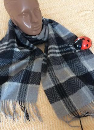 Шерстяной шарф в клетку gant италия