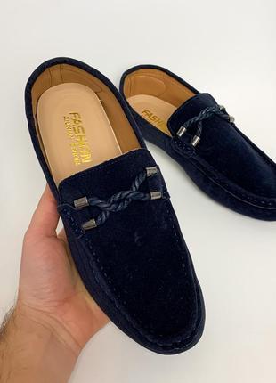 Легкие мужские мокасины с шнурочками синие
