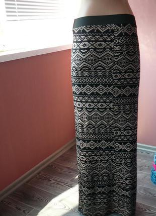 Длинная вискозная мягкая трикотажная  ( индийская ) юбка  длина -102 см размер - 8-s ка