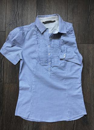 Рубашка zara в полоску с коротким рукавом