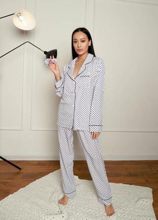 Домашний костюм (рубашка + брюки), пижама в горошек черно белая3 фото