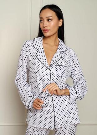 Домашний костюм (рубашка + брюки), пижама в горошек черно белая2 фото