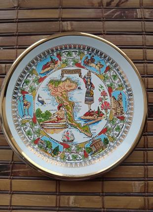 Шикарная тарелка из корфу,роспись 24к золотом,