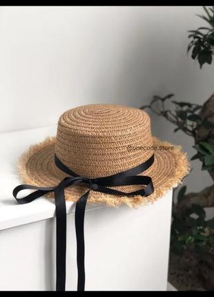 Летняя пляжная шляпа, шляпа соломенная канотье с бахромой