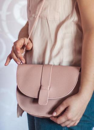 Сумка женская пудрово-розового цвета из pu кожи