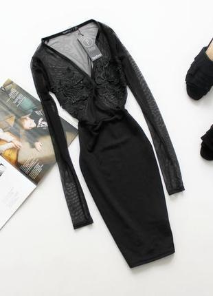 Красивое черное платье сетка с кружевом хс с 8