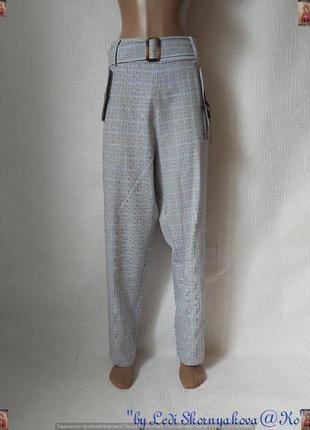 Фирменные prettylittlething летние штаны с поясом в базовую светлую клетку, размер хл