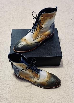 Ботинки блоги оксфорды кожаные винтажные италия