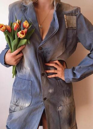 Новый эксклюзивный джинсовый тренч пиджак жакет краска ржавчина потертости castro