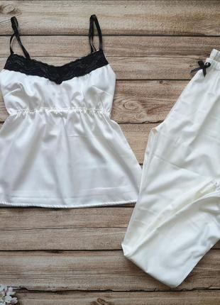 Сатиновая пижамка. красивая хлопковая пижама. женская пижамка с кружевом4 фото