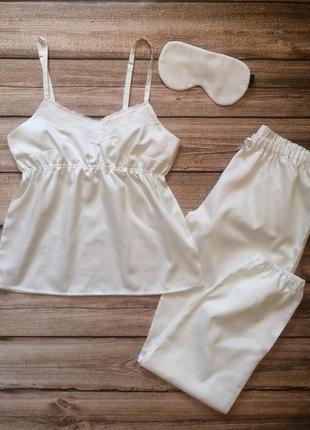 Сатиновая пижамка. красивая хлопковая пижама. женская пижамка с кружевом