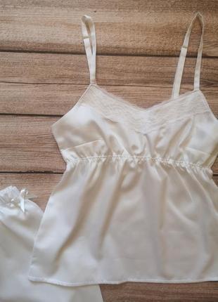 Сатиновая пижамка. красивая хлопковая пижама. женская пижамка с кружевом2 фото