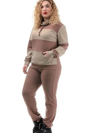 Трикотажный женский стильный костюм, размеры  48 - 58