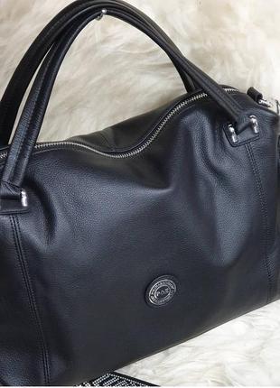 Женская кожаная сумка черная polina eiterou