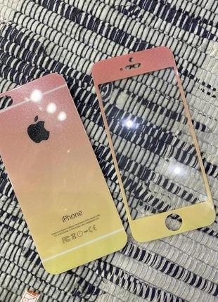 Защитное стекло градиент в блестках iphone 5,5s,se1 фото