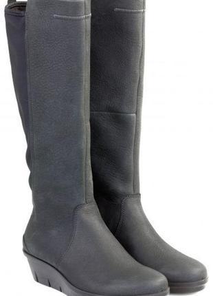 Жіночі чоботи ecco. класичні високі чоботи з нубука. м'які і комфортні матеріали.